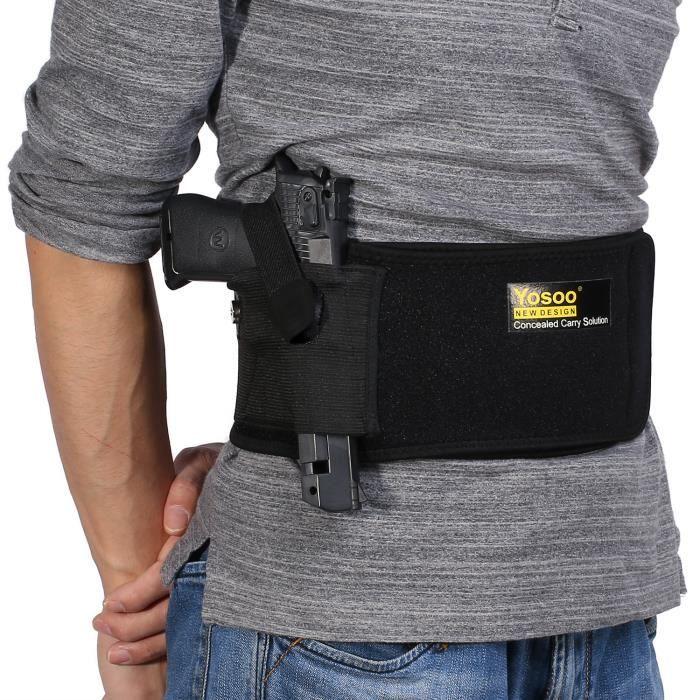 Housse /étui Pochette Cuir de pistolet avec fixation ceinture militaire