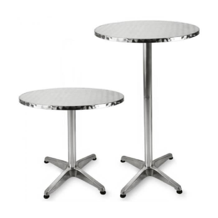 superbe table de bar table haute bistrot aluminium table ronde acier inox achat vente. Black Bedroom Furniture Sets. Home Design Ideas