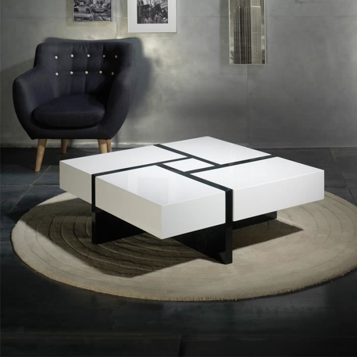 table basse carr e laque blanche laque noire quadro l 100 x l 100 x h 35 cm achat. Black Bedroom Furniture Sets. Home Design Ideas