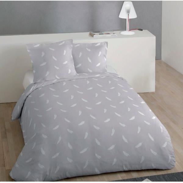 housse de couette r versible 220x240 cm microfibre plume gris 2 taies d oreiller 63x63 cm. Black Bedroom Furniture Sets. Home Design Ideas