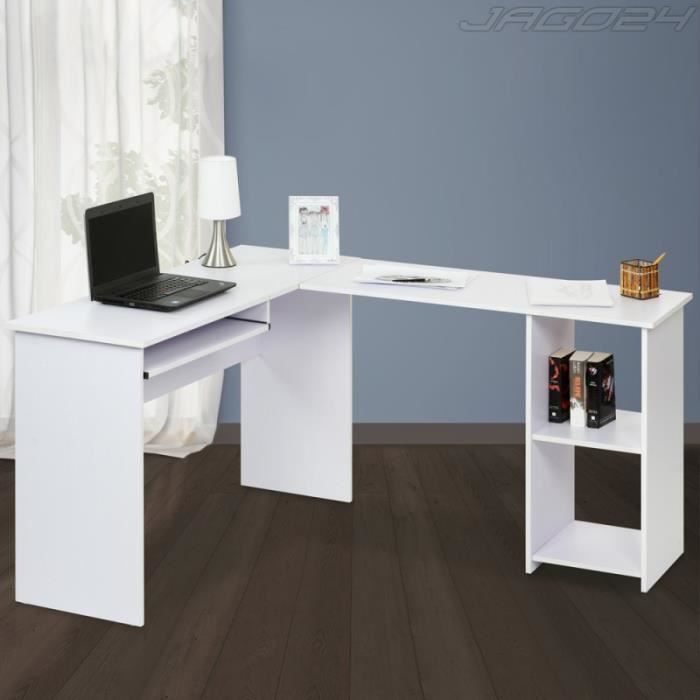 bureau d 39 angle table d 39 ordinateur blanc achat vente bureau bureau d 39 angle table cdiscount. Black Bedroom Furniture Sets. Home Design Ideas