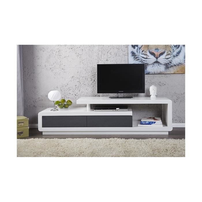 Meuble tv design alice laqu blanc anthracite 170 cm for Meuble tv blanc laque