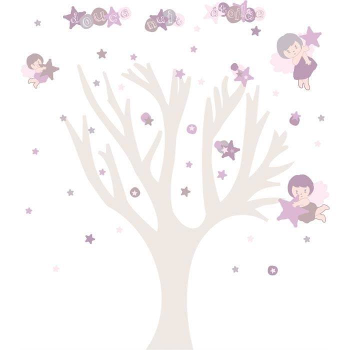 stickers enfant lili pouce arbre douce nuit etoil e fille achat vente stickers cdiscount. Black Bedroom Furniture Sets. Home Design Ideas