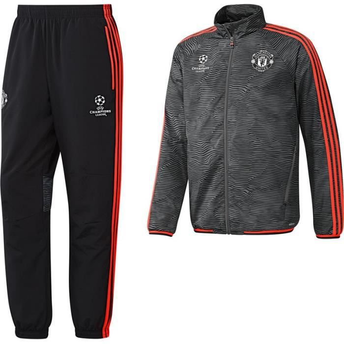 survetement homme adidas manchester united ac1975 champions league 2016 noir gris t m noir noir. Black Bedroom Furniture Sets. Home Design Ideas