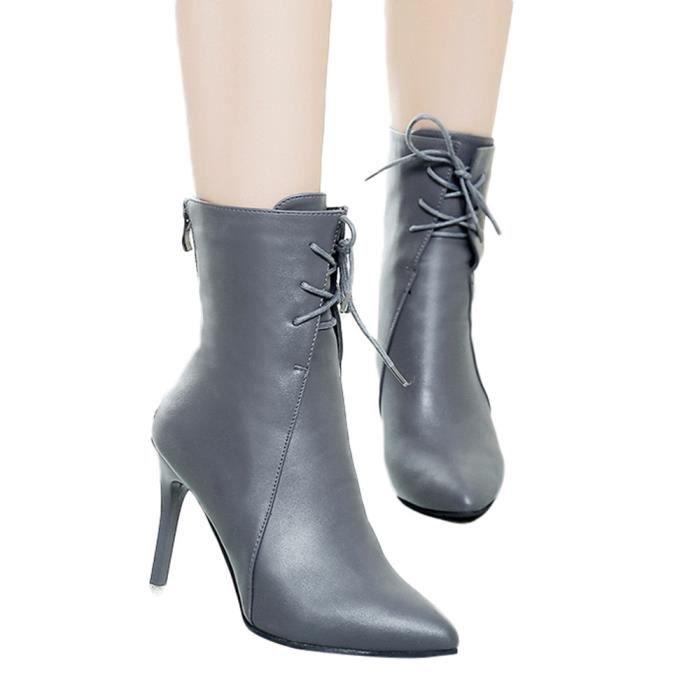 en Casual couleur solide à lacets Femmes Talon cuir Bottes pointu bout Martin fin Chaussure 6Yfvgyb7
