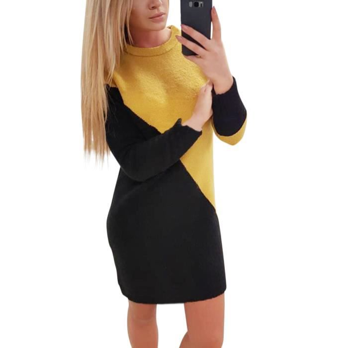 Minetom Robe Pull Femme Manches Longues Epaissir Col Rond Pullover En Tricot Mini Robe De Soiree Noir Achat Vente Robe Cdiscount
