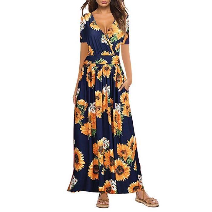 Tomwell Femme Robe Longue Ete Boheme Chic Col V Manche Courte Imprime Floral Robe De Plage Vacances B Jaune Achat Vente Robe Cdiscount