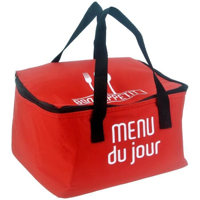 lunch bag sac panier repas fraicheur isotherme menu du jour rouge achat vente lunch box. Black Bedroom Furniture Sets. Home Design Ideas