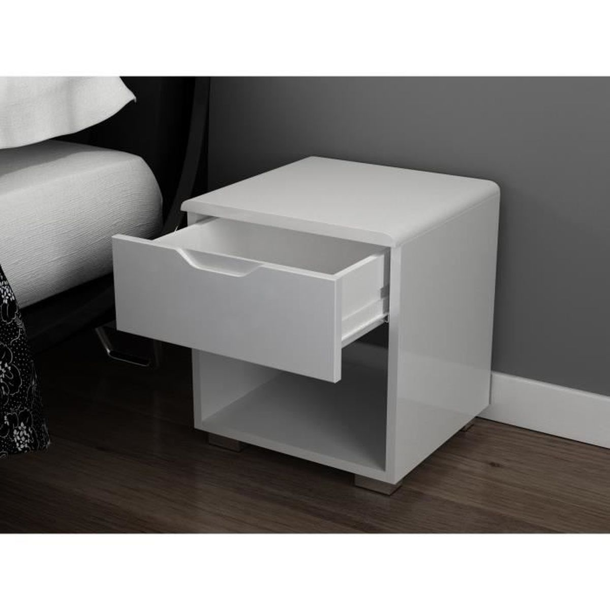 urbano chevet 35 cm laqu blanc brillant achat vente. Black Bedroom Furniture Sets. Home Design Ideas