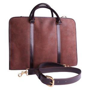 ATTACHÉ-CASE Serviette cuir marron, cartable, portes documents.