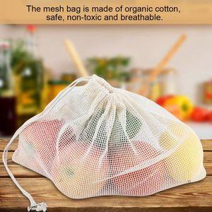 SAC DE CONSERVATION 5pcs Sacs en maille de coton Sacs de filet recycla
