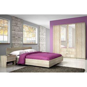 STRUCTURE DE LIT Chambre complète GHIZLAINE 160x200 cm avec armoire