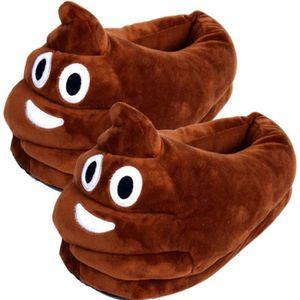 CHAUSSON - PANTOUFLE Emoji Caca Pantoufles en peluche Expression Hommes