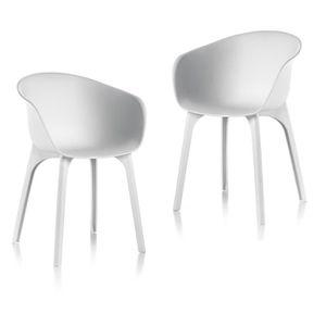 FAUTEUIL JARDIN  IDEA Lot de 2 Chaises de jardin Diva Blanc