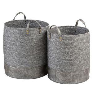 PANIER A LINGE Duo de Paniers Fibres grises - LENCICO - L 40 x l