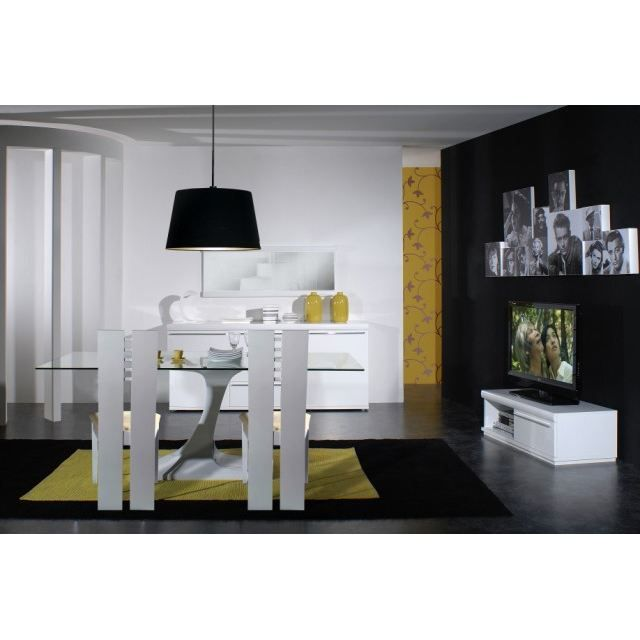 white chaise laqu e blanche achat vente chaise cdiscount. Black Bedroom Furniture Sets. Home Design Ideas