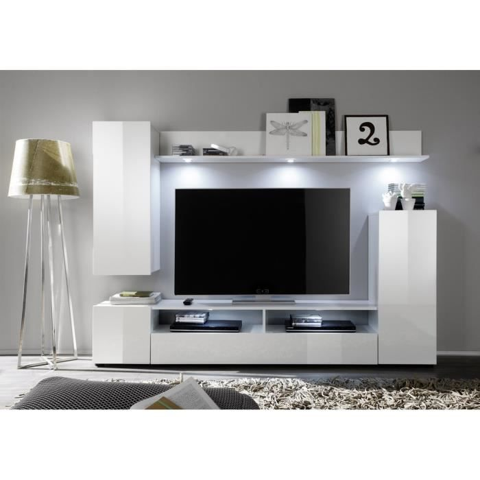 dos meuble tv mural 208cm blanc brillant achat vente meuble tv dos composition tv blanc. Black Bedroom Furniture Sets. Home Design Ideas