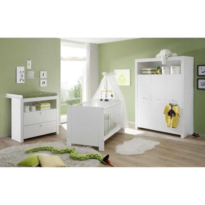 OLIVIA Chambre Bébé Complète : Lit 70*140 cm + Armoire + Commode - blanc
