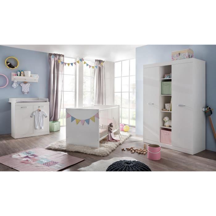 RONJA Chambre bébé complète : Lit 70*140 cm + Armoire + Commode - blanc