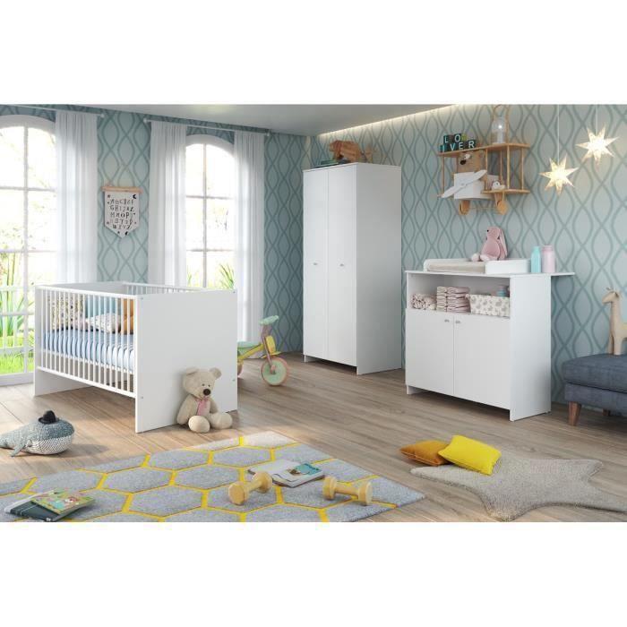 NIKO Chambre bébé complète : lit 70x140cm + commode à langer + armoire - blanc