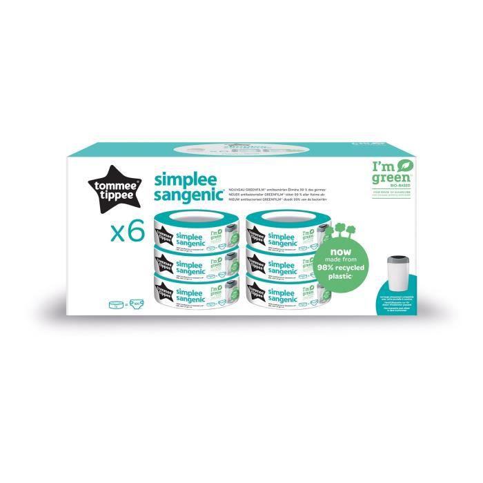 TOMMEE TIPPEE Lot de 6 Recharges de Poubelle à Couches pour Simplee Sangenic, Protection Anti-Odeur et Anti-Germe