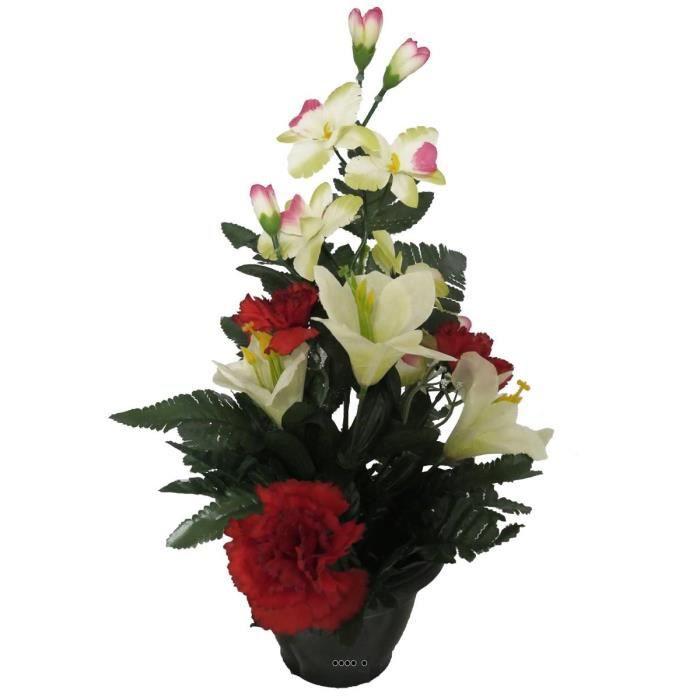 Composition pot d'oeillets, de lys et d'orchidées artificielles, lestée, H 40 cm, D 27 cm Rouge