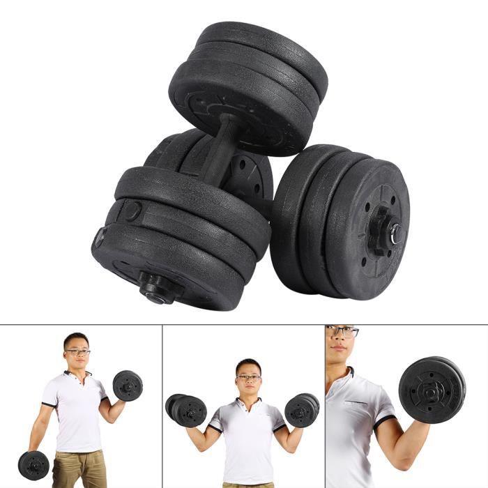 Jeu d'haltères 20kg haltères mis en forme gym poids biceps triceps poids formation libres -YUH