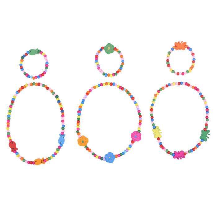 6 pièces mode non toxique mignon perles durables collier enfants ensembles de bijoux filles Bracelet pour bébé JEWELERY DISPLAY