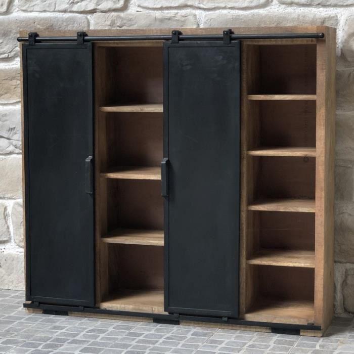 Bahut Étagère Bibliothèque Meuble à Portes Coulissantes Bois Fer 117 cm - 14379-BIS