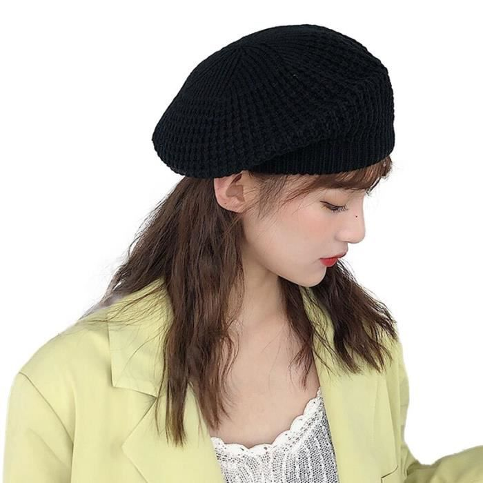 2 Taille unique -Béret tricoté pour femme, chapeaux de peintre japonais, chapeaux doux, de couleurs douces, noir, vert, jaune, autom