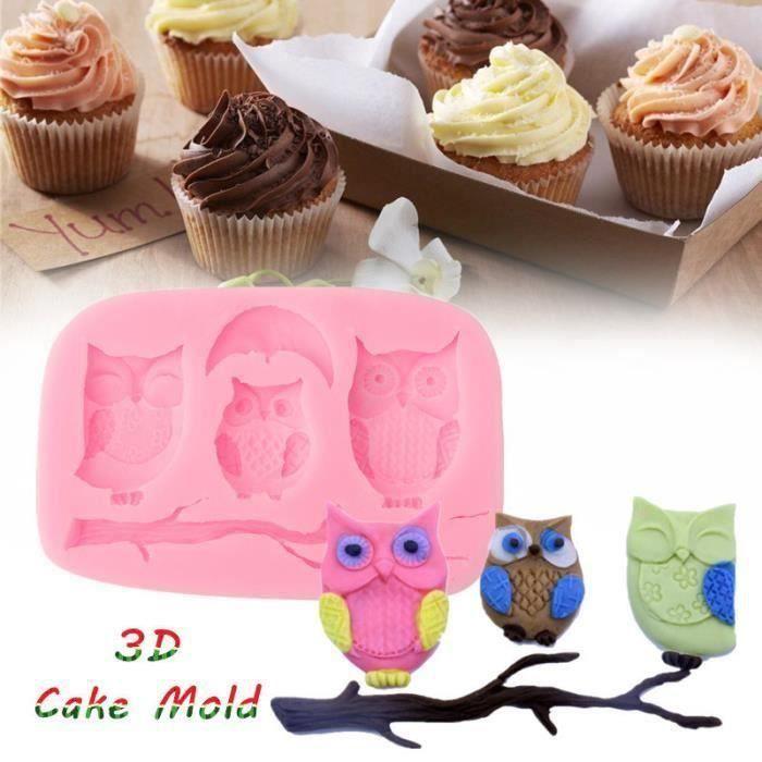 3D DIY Hibou Moules Gâteaux Silicone Forme Pain Muffin Pâtisserie Savon Cuisine Bo01655