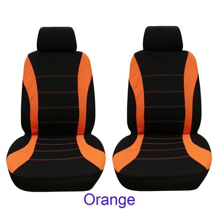 4pcs - set siège de voiture housse de protection siège confortable couvre-siège de siège avant antipoussière Noir orange
