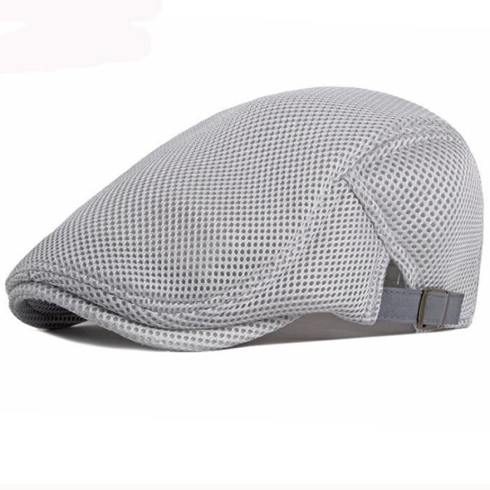 Bonnet,Béret en maille respirante pour hommes et femmes, chapeau de soleil ajusté, casquette plate - Type Argent-56-61cm adjustable