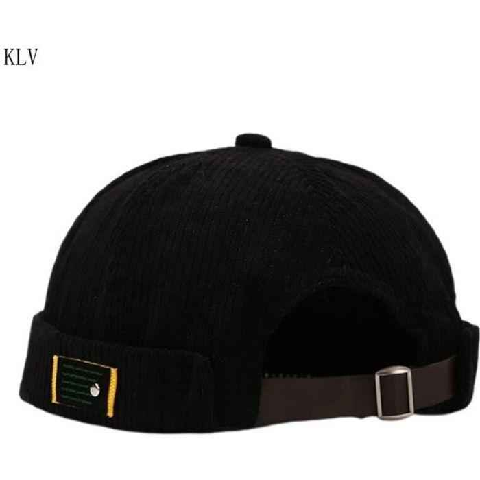 Unisexe lettres étiquette velours bonnet Docker casquette Harajuku Hip Hop rétro roulé manchette san BK