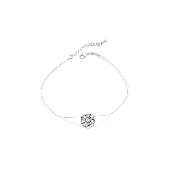 Bracelet Invisible et Cristal de Swarovski Elements Blanc