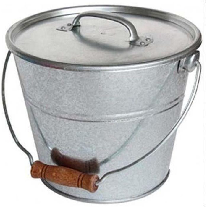 Seau avec couvercle pour cendres granulés ou compost Gris