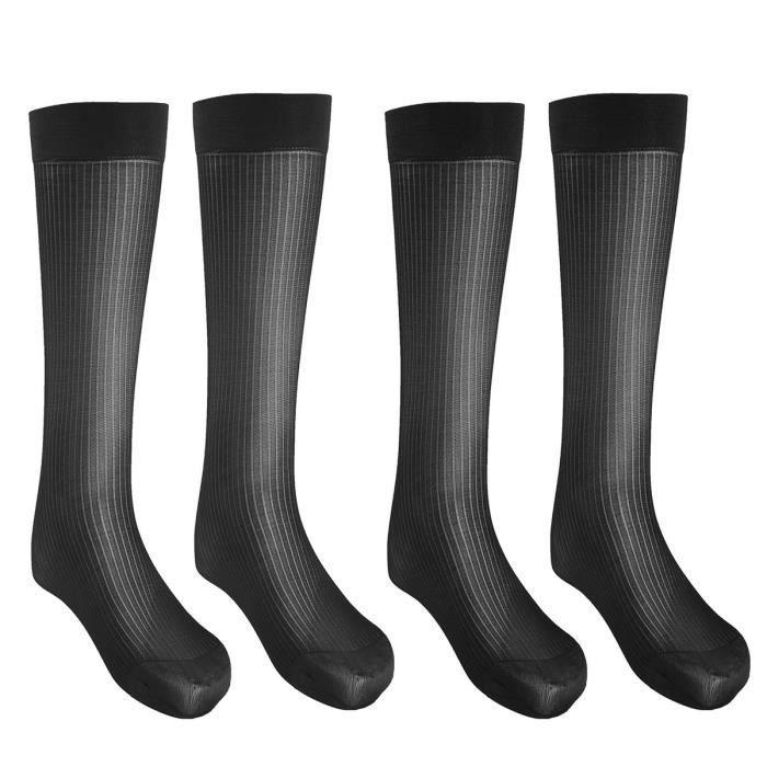 2 Paires Chaussette Haute Homme Mi-Bas Nylon Polyamide Respirantes Business Silk Socks Noir