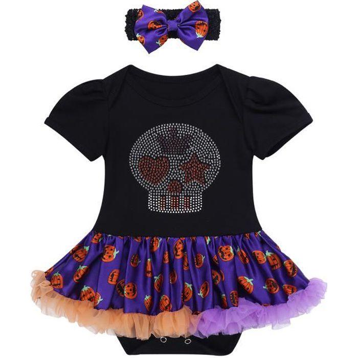 Ensemble de Vêtements Bébé Fille Costume Halloween Déguisement Bandeau Tutu Barboteuse 0-9 Mois Violet