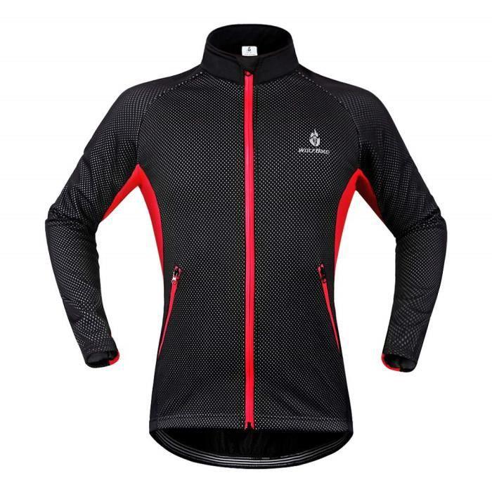 Hommes Vestes de Cyclisme Polaire Chaleur Coupe-Vent Imperméable Vélo Vêtements Manches Longues VTT Manteau
