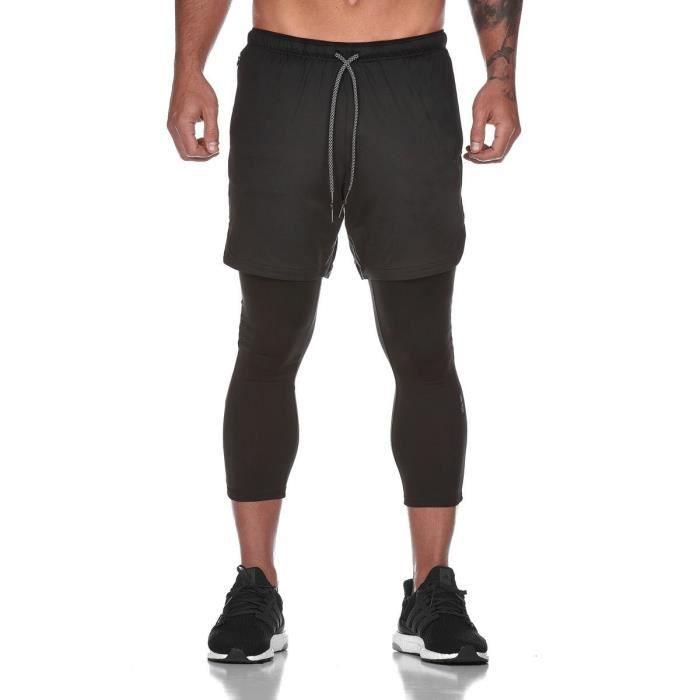 Pantalon de compression Ensemble 2 pièces (legging de compression+Shorts)Basketball Musculation Séchage Rapide