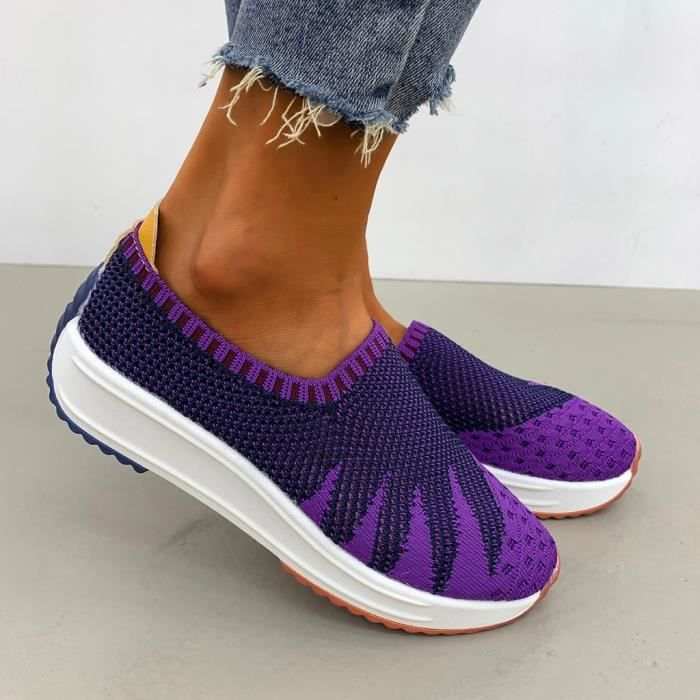 Mode Femmes Maille Casual Slip-on Chaussures de Sport Runing Respirantes Baskets