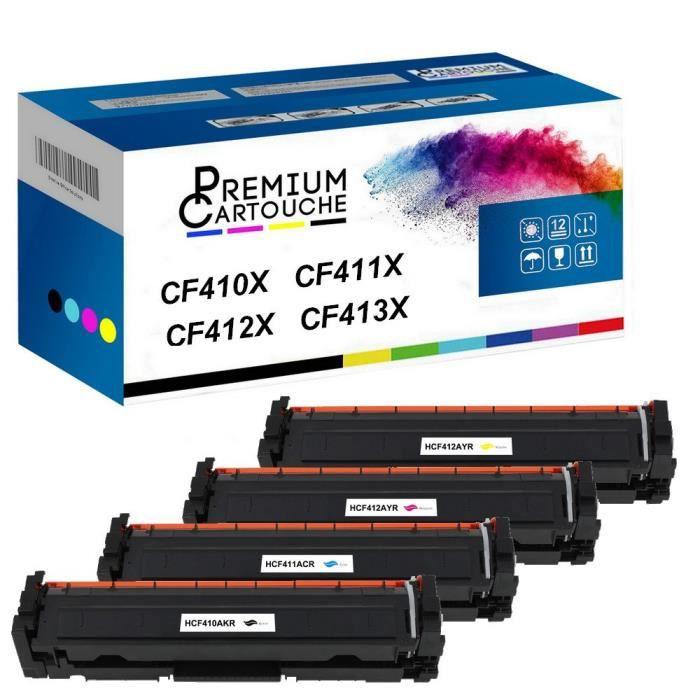 Toner CF410X Noir + Cyan + Magenta + Jaune Compatible pour HP Color LaserJet Pro MFP M477fnw M477fdn M477fdw M377dwHP Color LaserJet