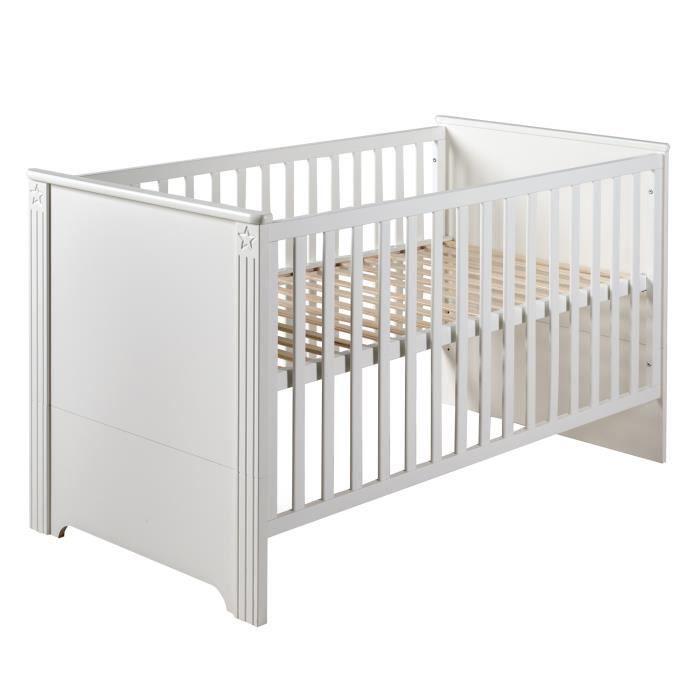 ROBA lit bébé évolutif -Maxi-, 70x140 cm, blanc, réglable en hauteur, 3 barreaux coulissants