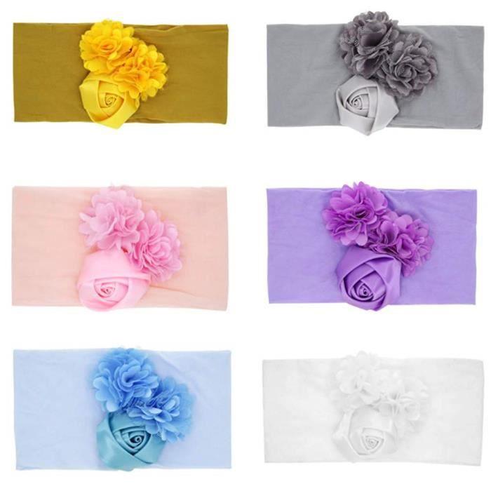 Bandeaux Bébé Fille Lot de 6 Cheveux Fleur Rose Kawaii Elastique Hairband Enfant Serre Tête Accessoires Naissance Baptêm