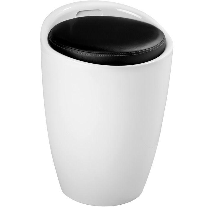 TECTAKE Tabouret Coffre de Rangement 18 Litres Siège Multifonction Ø 36 cm x 51 cm Blanc Noir