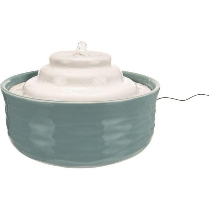 TRIXIE Fontaine à eau en céramique Vital Falls - 1,5 L / Ø 22 x 13 cm - Pétrole et blanc - Pour chien et chat