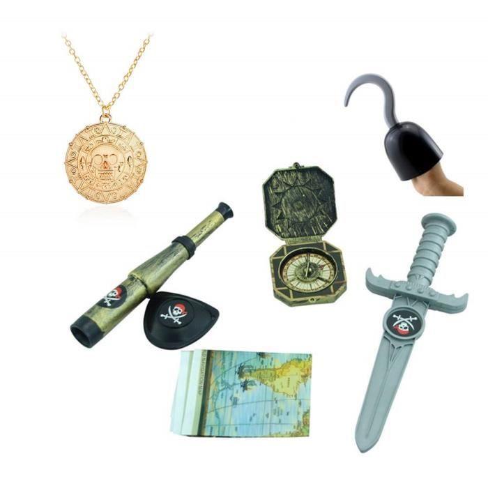 TRIXES Déguisement Accessoires pour Enfant du Parfait Petit Pirate avec Un Crochet, Une dague, Une Boussole, Une Carte au trésor,