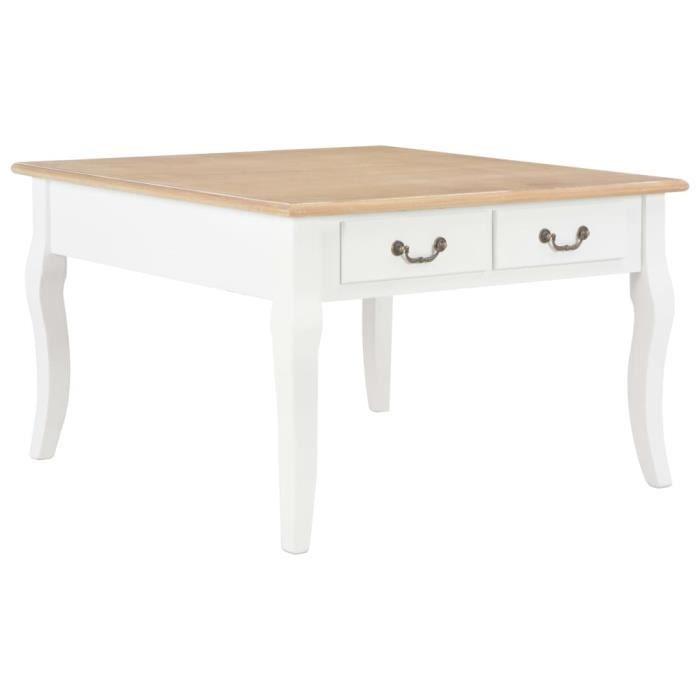 vidaXL Table basse Blanc 80 x 80 x 50 cm Bois-MEY