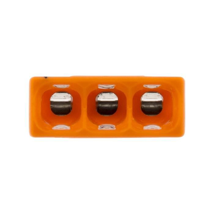 Lot de 100 mini bornes de connexion rapide S2273 pour fils rigides - 3 entrées