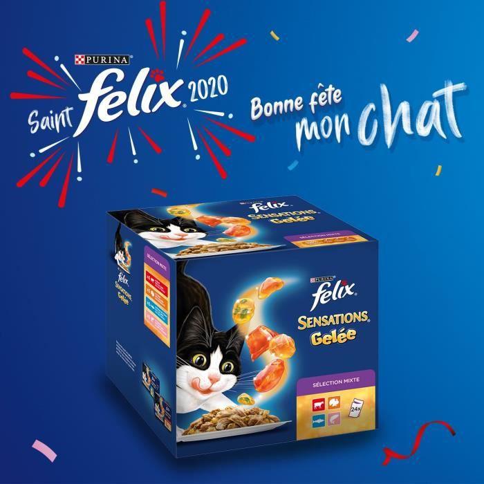 FELIX Sensations en gelée - Viandes et poissons - Sachets fraîcheur pour chat adulte - 24 x 100 g